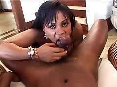 Hot ebony bitch sucks POV black cock