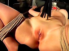 Big tits blonde, bound and gagged, gets her pussy teased by her master