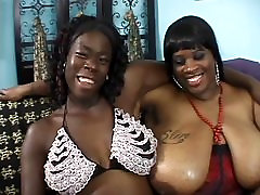 Two black pantat ho milfs with gigantic racks lick pussy and fuck with sex toys
