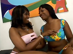 Two thick hot black lesbian bitches oil up their asses and lick wet pussy