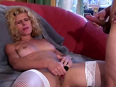 Blonde with great tits in white lingerie sucks and gets fucked in her pussy