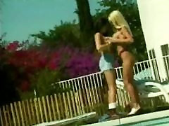Sexy blonde and clothes fitter lick and tickle each other&039;s cunts at poolside