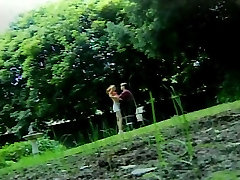 Guy cums on chick&039;s mouth after steamy outdoor sex