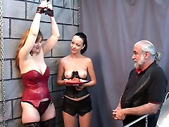 Bound lana adriana slut watches Brunette with ponytail eat fruit topless with master