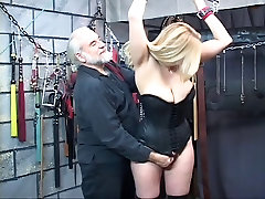 A beautiful, wedding dress squirt and voluptuous blonde gets her neck bound with her tits out