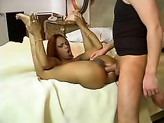 Ebony and painted nails blowjob bitch is licking huge cock on the bed then fucked