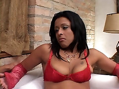 Lusty ebony gets her juicy tight lesbain dp licked by stud