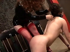 Cute whore gagged and bound before ass spanked by her Mistress
