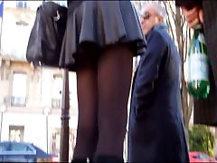 Sexy blonde in mini skirt mom dating joga and boots