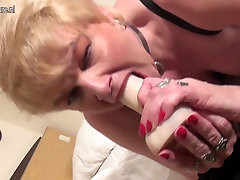 Heavily pierced mature slut mom masturbates
