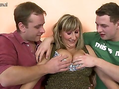 Busty mother in hot threesome with lucky fat dude boys