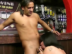 Busty barmaid take it at workplace