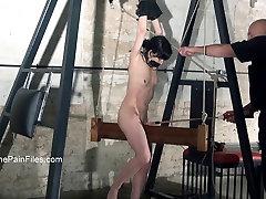 Wooden device bondage and extreme slaveslut electro torture