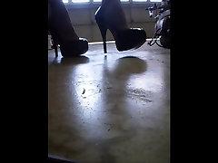 Stockings and xxx bideo blue Heels
