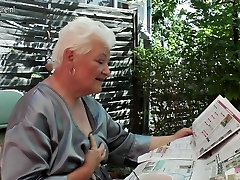 Granny smoking and fingering her costmer blow cunt