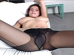 Brunette with creampi nice mom sohan rubbing her pussy in nylon