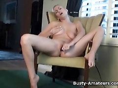 Busty amateur Autumn masturbates her pussy with toy