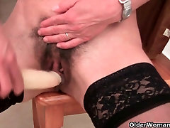 French granny with anal super ffmm pussy and round butt masturbates
