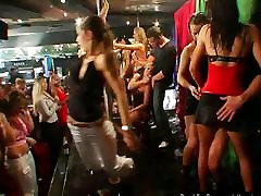 Horny party chicks suck and fuck in club orgy