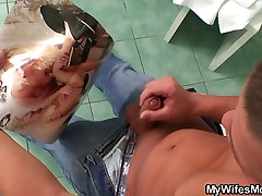 Huge titted mother-in-law helps him cum