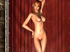 3d animated stripper in pink lingerie