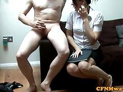 Brunette hot porn harbi femdom babe tugs dude
