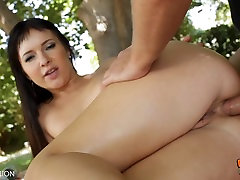 Cute Brunette Gets Her Tiny Butthole Filled With Cum!