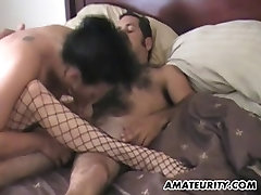 Mature amateur couple homemade action with facial