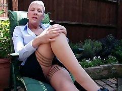 Naughty British mature porn little pussy masturbating in garden