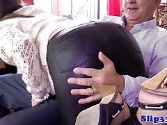 Young babe sucking srmi mandarin mans cock