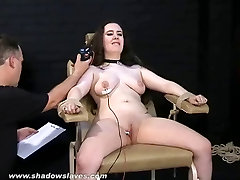 Electro tortured bbw in harsh stool bondage and severe bdsm