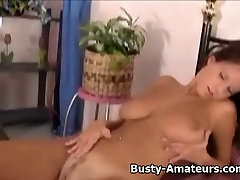 Busty Wendy fingering her cute pussy