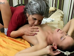 Granny having great fun with her young girl