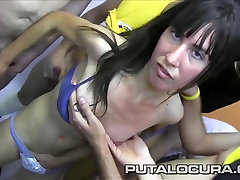 PUTA LOCURA Busty Amateur Latina Teen gets a Bukkake