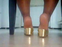 BBW Ebony Jala Kullast Sandaalid