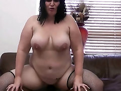 BBW in fishnets swallows his heavy black dong