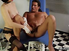 Horny dude sucked off while being fucked with a dildo
