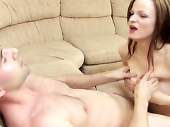 Brunette titty fucks dude and gets her bouncy tits creamed