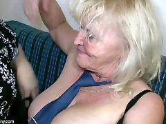 OldNanny 1st tsim brokn with big boobs masturbate with chubby Granny