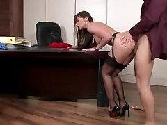 secretary in stockings anal fuck on the desk