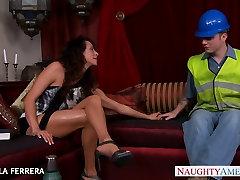 Busty big boobs seduce Ariella Ferrera fucking a worker