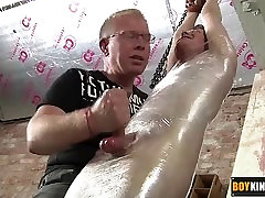 Cute shaved twink wrapped in plastic