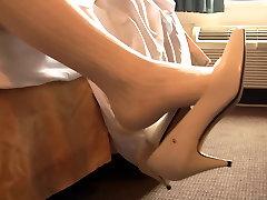 White wedding bride heels shoeplay fondling preview