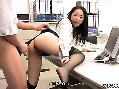 Asian ria paradise6 shagged by two coworkers in her office