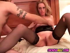 Cuckold MILF fucked by 3 black pussi licking bulls while sissy watches
