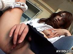 Magus brünett Asian babe röövib tema niiske tuss
