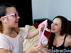 Slutty Teens Sniffing Dirty Panties
