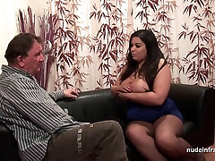 Casting of a huge boobed french BBW in sunny leone pets her porn stockings