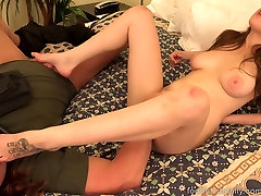 Brunette Fucked and Takes a strapon combat sun clip on Her Toes