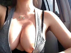 Flashing tits whilst driving